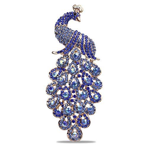 [해외]1st market 프리미엄 품질 1 배 브 로치 여자 꽃다발 블루 다이아몬드 공작 결혼식 신부 핀 드레스 스카프 숄 클립 레이디 보석 가방 장식 크리스마스 선물 / 1st Market Premium Quality 1x Brooch Female Corsage Blue Diamond Peacock Wedding Br...