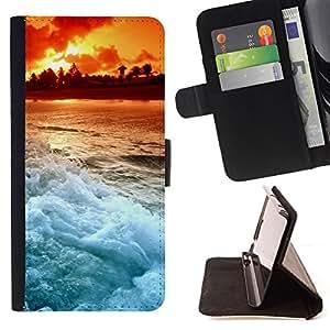 BullDog Case - FOR/Sony Xperia Z1 Compact D5503 / - / Sunset Beautiful Nature 103 /- Monedero de cuero de la PU Llevar cubierta de la caja con el ID Credit Card Slots Flip funda de cuer