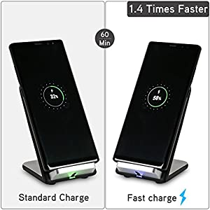 Techelec Fast Wireless Charger Stand 2 Coils QI Wireless Charging Stand for Samsung Galaxy Note8 / S8 / S8+ / S7 / S7 edge / S6 edge+, Note5 and Standard Charge for Newest iPhone X, iPhone 8