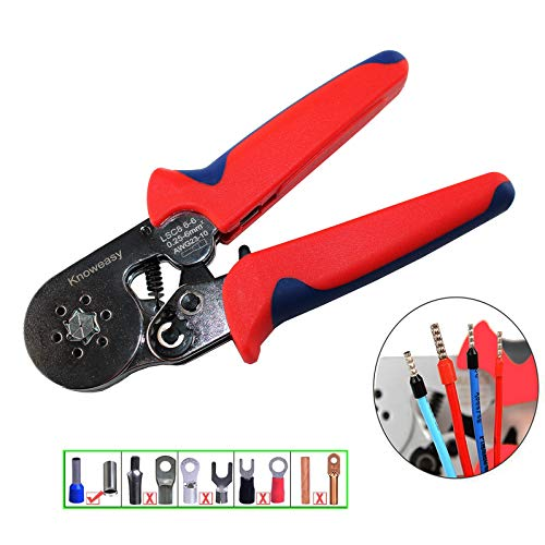 - Hexagonal Crimper,Knoweasy Ferrel Crimping Tool Used For 23-10 AWG (0.25-6 mm²) Cable End-Sleeves