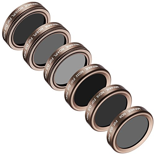 Neewer 6 Pieces Lens Filter Kit for DJI Phantom 4 Pro, Multi-coated, High Definition Glass and Aluminum Alloy Frame Includes: ND4/PL, ND8/PL, ND16/PL, ND8, ND16, and ND32 (Gold) by Neewer