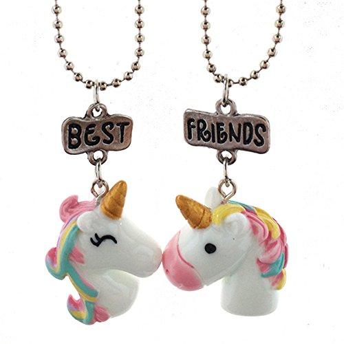 Rurah Girls Cute Colorful Cartoon Horse Rainbow Friendship Necklaces Set