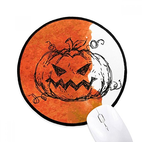 - Hand Painted Pumpkin of Halloween Round Non-Slip Mousepads Black Stitched Edges Game Office Gift