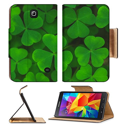 Liili Premium Samsung Galaxy Tab 4 7.0 Inch Flip Pu Leather Wallet Case Macro view fresh green leaves of shamrock background 29604921