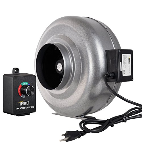 iPower 6 Inch 442 CFM Duct Inline Fan HVAC Exhaust Blower with Variable Speed Controller by iPower