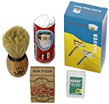 Shaving Set with Shaving Factory Double Edge Safety Razor, Alum Bloc Osma, Shaving Factory XSmall Shaving Brush, Arko Soap and 5 Derby Extra Blades.