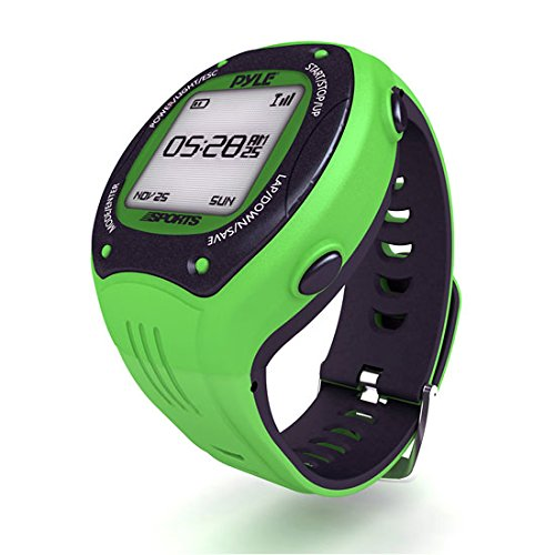 Pyle GPS Sports Watch and Workout Trainer - For Tracking Running, Biking, Hiking Outdoors - Displays Pace, Speed and Distance (Green)