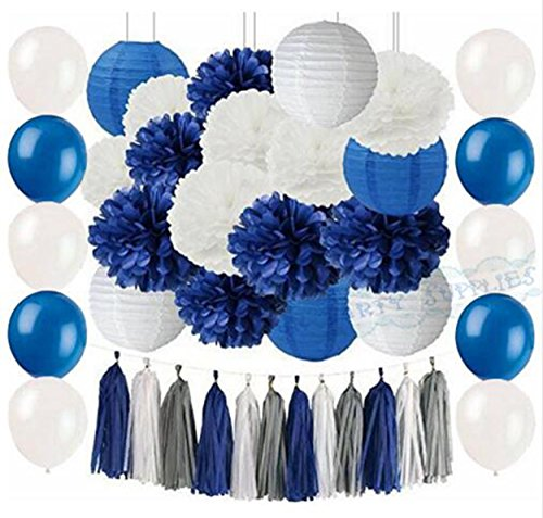 - 51Pcs Navy Blue White Grey/Tassel Garland Paper Lanterns Tissue Paper Pom Pom and Latex Balloons Bridal Shower Wedding Decor/Baby Shower Decoration