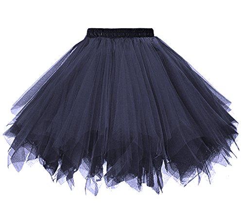 Wholesale Drapery Fabric - Dressever Vintage 1951s Short Tulle Petticoat Ballet Bubble Tutu Navy Large/X-Large