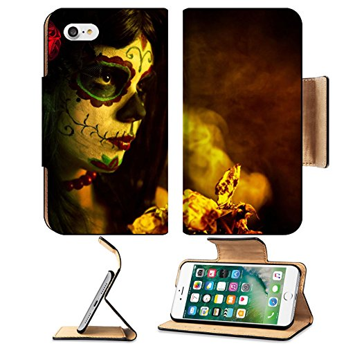 Dangerous Halloween Costumes (MSD Premium Apple iPhone 7 Flip Pu Leather Wallet Case IMAGE ID: 10546187 Artistic shot of sugar skull girl with dead roses selective focus on rose)