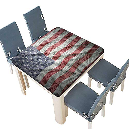 PINAFORE Jacquard Polyester Fabric Tablecloth American Dollar Flag Mey Currency Exchange Value Global Finance Summer & Outdoor Picnics 45 x 45 INCH (Elastic Edge) ()
