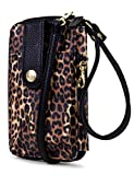 MUNDI Jacqui Vegan Leather RFID Womens Crossbody Cell Phone Purse Holder Wallet (Leopard)