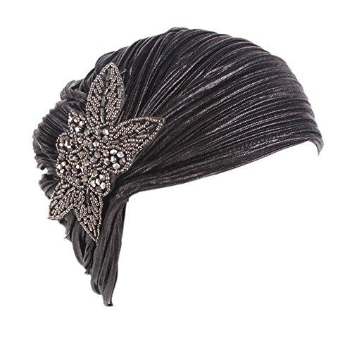 CHUANGLI Women's Noble Ruffle Turban Hat Glitter Pleated Stretch Head Wraps Chemo ()