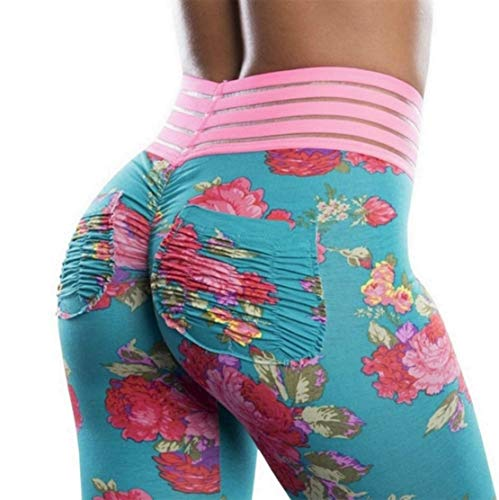 (Meilidress Womens Ruched Butt Lifting Floral Leggings High Waisted Sport Tummy Control Gym Yoga Pants (Small, 1-Blue))
