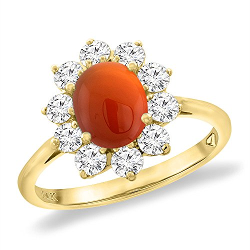 14K Yellow Gold Diamond Natural Brown Agate Engagement Ring Oval 8x6 mm, size 5