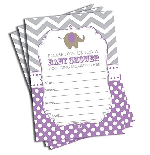 Purple Baby Shower Invitations - 50 Elephant Invitations and Envelopes - Purple (Large Size 5x7)