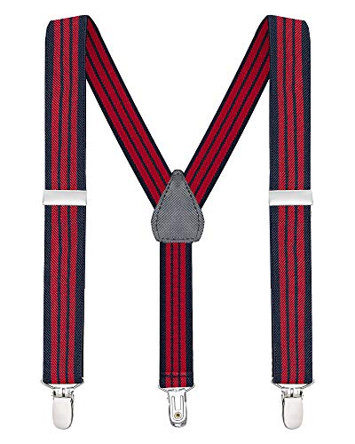 Buyless Fashion Suspenders for Kids and Baby Adjustable Elastic Solid Color 1 inch - 5102-Navy-Red-Stripe-26