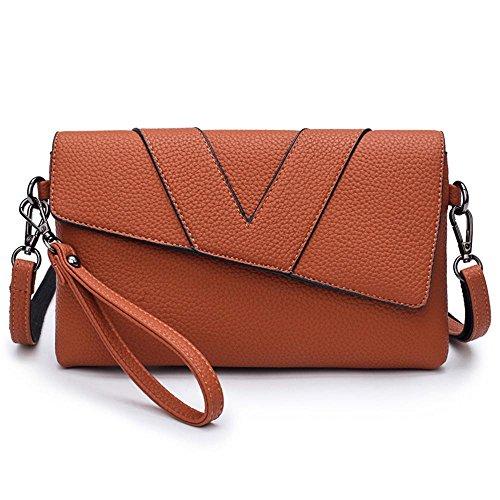 Aoligei Fille de fashion bag lady main main sac simple centaines enveloppe magnétique boucle d'épaule unique de poignet diagonale F