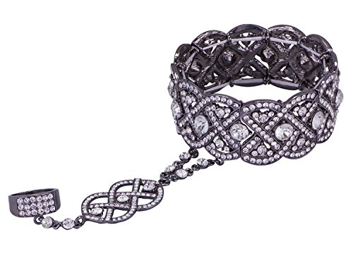 Vijiv Black 1920s Flapper accessories Bracelet Ring Set Great Gatsby Style 20s Jewelry For (Rings Costume Accessories)
