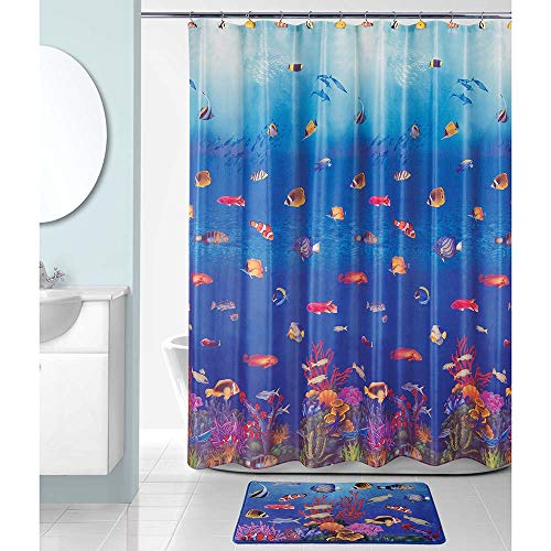 Allure Home Creation Shower Curtain - Fish Under The Sea Set for Kids, 70x72 Inches Colorful Fabric Shower Curtain with 12 Shower Hooks and Shower Rug/Mat Set