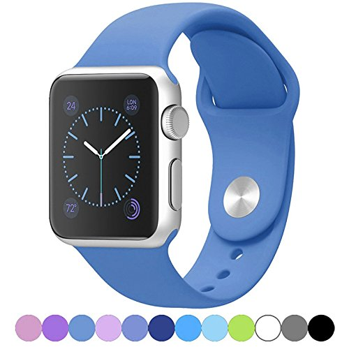 Icesnail Silicone Soft Replacement Bands for 38mm / 42mm All Apple Watch Models 38mm Ocean Blue