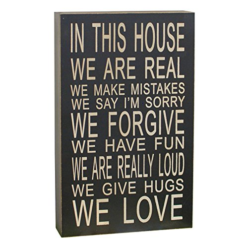 In This House We Do Love Inspirational Wood Hanging Sign Wall Art Black (Sign Inspirational)