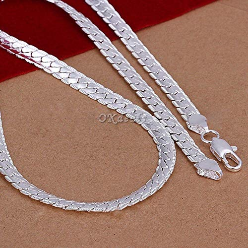 "YULong 5MM 925 Solid Sterling Silver Necklace Chain 20"" inch Fashion Men Women HBK7409"