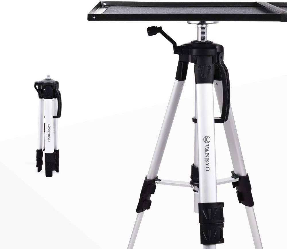 VANKYO Aluminum Tripod Projector Stand, Adjustable Laptop Stand, Multi-Function Stand, Computer Stand Adjustable Height 17'' to 46'' for Laptop with Plate and Carrying Bag (1-Silver)