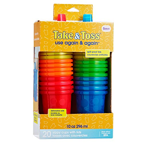 51A%2B8urT%2BJL - The First Years Take & Toss Spill Proof Sippy Cups Value Pack, Rainbow, 20-Pieces