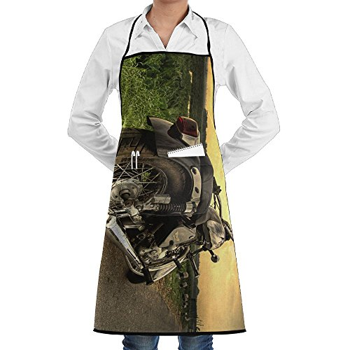 NRIEG Silver Cruiser Motorcycle Faction Unisex Kitchen Cooking Garden Apron,Convenient Adjustable Sewing Pocket Waterproof Chef -