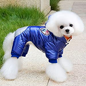 smalllee_lucky_store Dog Snow Jacket with Hood Winter Small Dog Coat Toy Poodle Clothes, X-Large, Blue