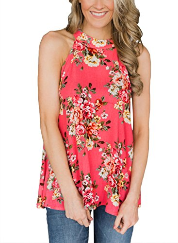 (Sweetnight Women's Floral Printed Tank Tops Sleeveless Blouse Shrits Loose Flowy Tanks Cami Shrits (Red, XXL))
