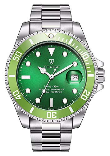 - Men Automatic Mechanical Anti-Scratch Rotatable Outer Ring Waterproof Luminous Watches (Green)