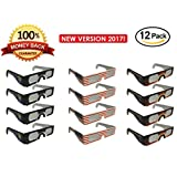 Solar Eclipse Glasses 2017 - Eye Glasses for The Eclipse - CE and ISO Certified - Eclipse Viewing Glasses -Glasses to View Solor Eclipse - Safe Solar Viewing - Cool Style and Look - 12pk with 3 Models