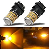 3157a led bulb - iBrightstar Newest 9-30V Super Bright Low Power 3156 3157 3057 4157 LED Bulbs with Projector Replacement for Turn Signal Lights,Amber Yellow