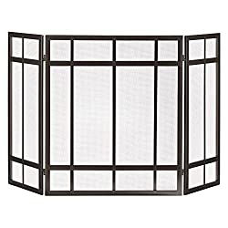 Pleasant Hearth FA017SB Mission Style 3-Panel Fireplace Screen - Wenge Finish from GHP-Group Inc