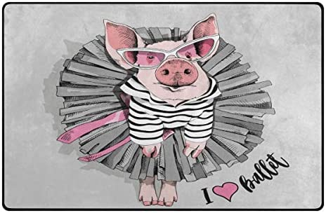 Jpopo Cute Pig Area Rug Doormat 60 L x 39 W Non Slip Floor Rug Entrance Mat Indoor Bathroom Mats for Bathroom Dining Room Decorative