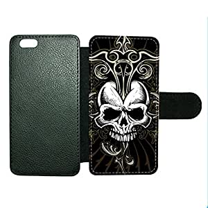 Case Fun Case Fun Black Skull Faux Leather Wallet Case Cover for Apple iPhone 6 4.7 inch