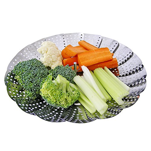 Vegetable Steamer Basket Insert - Fully Adjustable - 100% Stainless Steel -For Healthy Fast Cooking in Various Size Pots!