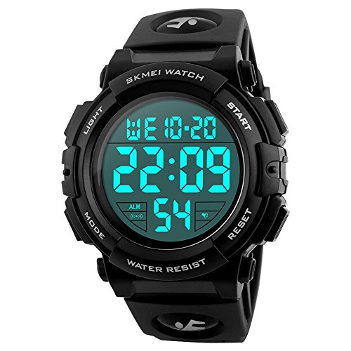 SKMEI Large Face Digital Men's Watch Sports Waterproof LED Military Wristwatches Chronograph Alarm Clock ()
