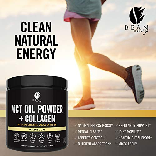 MCT Oil Powder + Collagen + Prebiotic Acacia Fiber - 100% Pure MCT's - Perfect for Keto - Energy Boost - Nutrient Absorption - Healthy Gut Support - Vanilla by Bean Envy (Image #3)