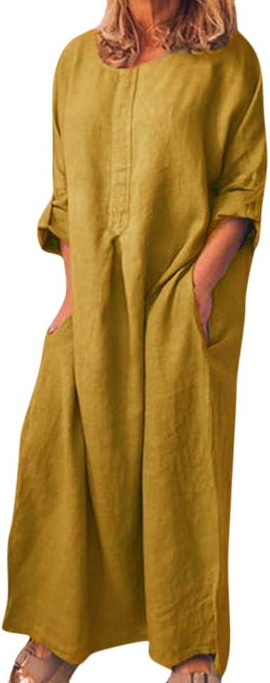 Vestidos Casual de Manga Larga algodón con Cuello en O para Mujer y Bolsillos Largo Floral Print Casual Verano Noche Fiesta Playa Manga Corta Sin Hombro Cuello Redondo Navidad: Amazon.es: Ropa y