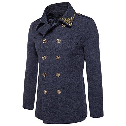 Kalanman Men's Winter Overcoat Classic Wool Blend Double Breasted Half Trench Coat (Dark Grey, US M(Label L))