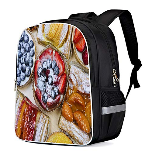 Fashion Elementary Student School Bags- Different Dessert Danish Pastry Cake and Fruits, Durable School Backpacks Outdoor Daypack Travel Packback for Kids Boys Girls