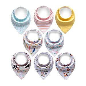 Cherub Baby Bandana Drool Bibs, Absorbent Baby Bibs for Drooling and Teething Girls, 8-Pack Bibs Set with Gift Wrap as Baby Shower Gift