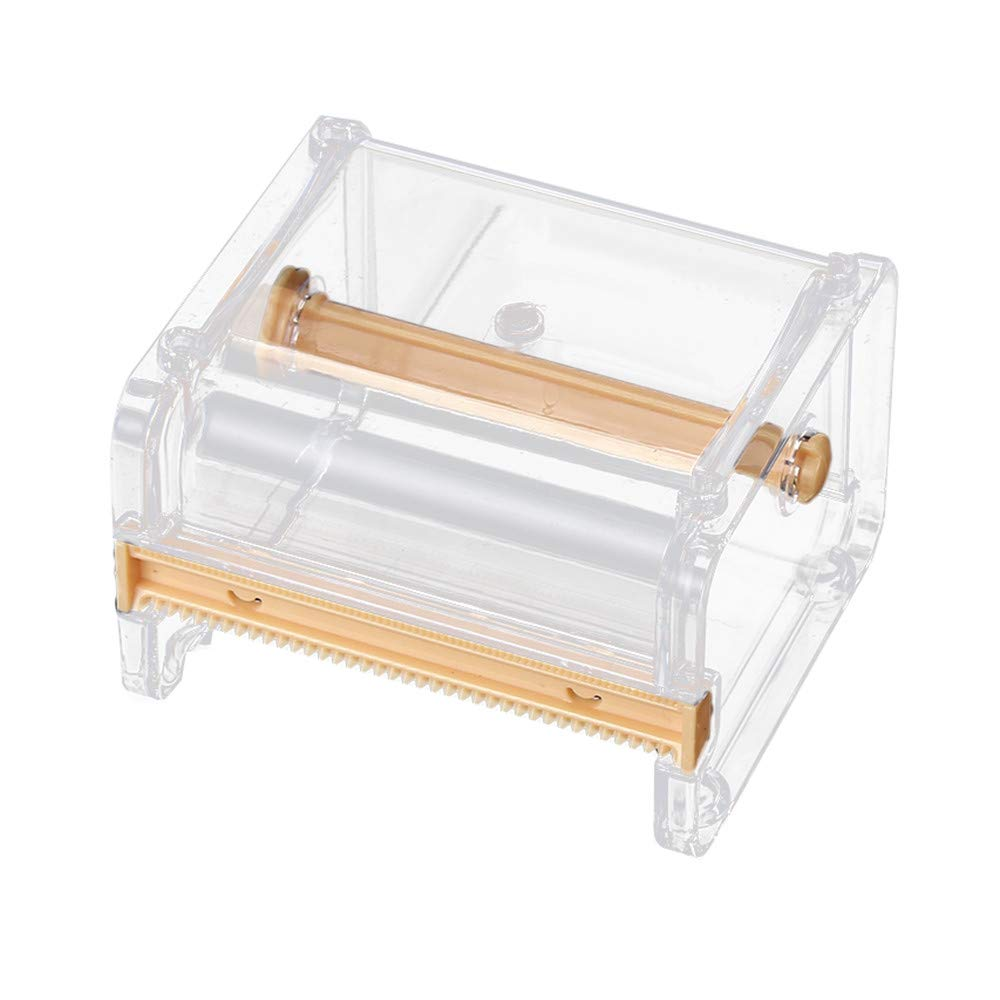 Sikye Desktop Tape Storage Dispenser,Clear Roll Tape Holder Tape Cutter Stationery for Home Office School (Yellow)