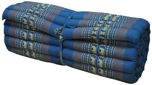 Thai mattress big size (75/180), blue/grey, relaxation, beach cushion, pool, meditation, yoga (81714) by Wilai GmbH