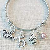 Best Birthday Gifts For 5 Year Old Girls - 5th BIRTHDAY GIRL BRACELET, 5th Birthday Charm Bracelet Review