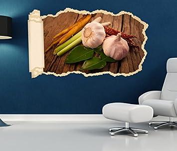 3d Wandtattoo Tapete Knoblauch Gemüse Küche Spargel Durchbruch