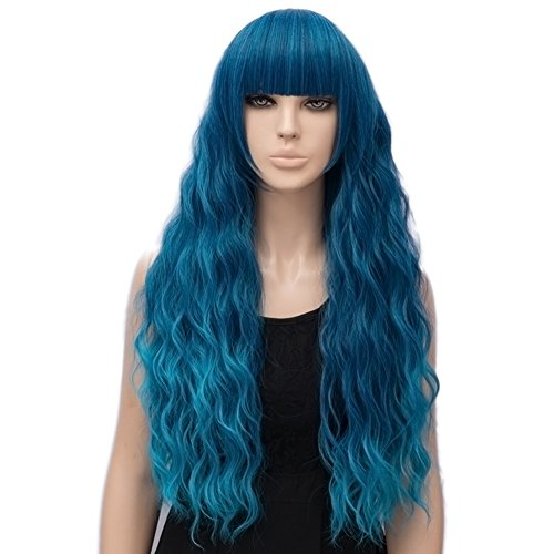 (netgo Women's Teal Wig Long Fluffy Curly Wavy Blue Hair Wigs for Girl Synthetic)